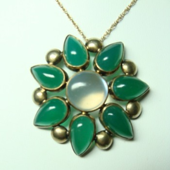 Arts and Crafts Chrysoprase and Moonstone Pendant