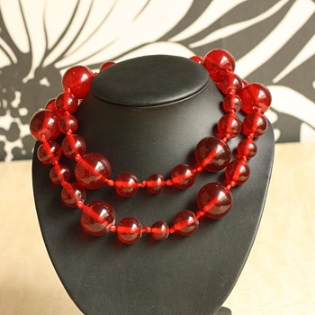 Red lucite necklaces - Costume Jewelry