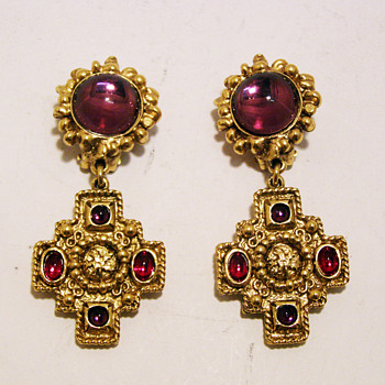 Vintage Charles Jourdan Paris Jeweled Cross Earrings. - Costume Jewelry