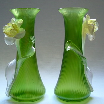Art Nouveau Kralik Vases with Applied Flowers - Art Glass