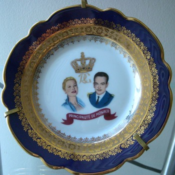 Limoges Royal Commemorative Plate; Princess Grace and Prince Rainer 