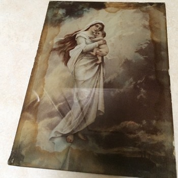 Saturday Rummage sale find painted on glass Madonna and child - Visual Art