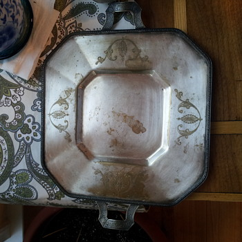 Silver tray with handles, interesting stamp on back of tray. - Sterling Silver