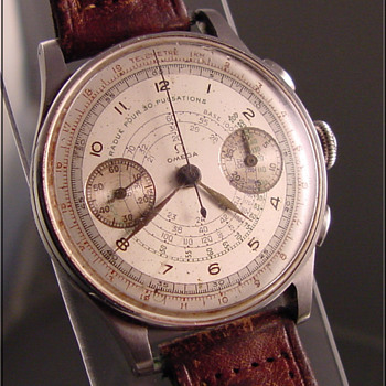 1940&#039;s Omega 2-Register Chronograph Wristwatch - Wristwatches