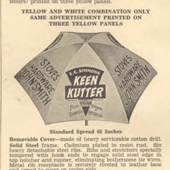 Partial photo of 1939 E.C.Simmons Keen Kutter Catalog page 1370 showing Umbrella - Paper