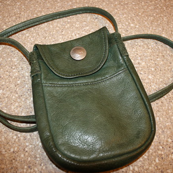Vintage Leather Handbag with Buffalo Nickel Snap - Womens Clothing