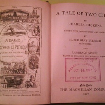 1927  Tale of Two Cities -Charles Dickens.....NYBOE Schoolbook