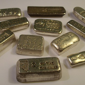 "Misc. Small 1-Ounce 999 Silver Bars ""Old Pour"" - Gold"