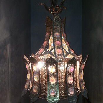 Aurora Borealis Crystals on Brass Hanging Light Fixture