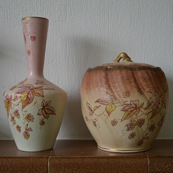 SF & Co biscuit barrel and vase - Art Pottery