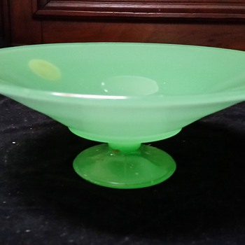 "Maker? 9"" Jade Green Footed Bowl labeled U.S. Playing Card Co  - Glassware"