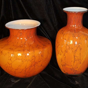 Pair of Glass Vases ~ Empoli Italy
