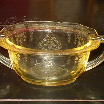 Depression Glass Sugar Bowl Hocking Glass Princess Pattern
