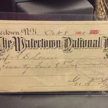 Check hand written October 15, 1900 paid from The Watertown National Bank