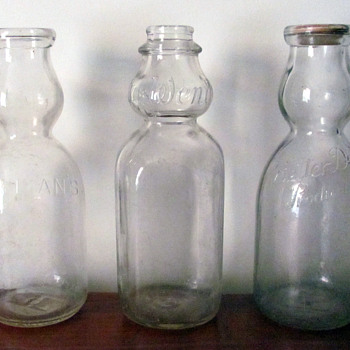 Old, creamer top milk bottles