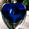 Unknown Blown Cobalt and Clear Perfume Bottle