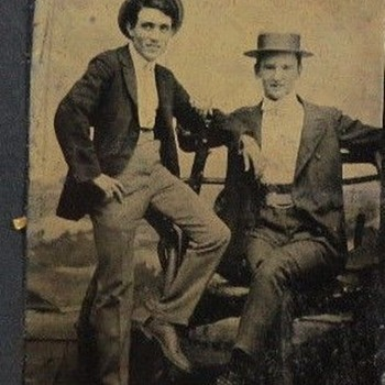 NICE TIN TYPE OF TWO GUYS HAVING A NITE OUT