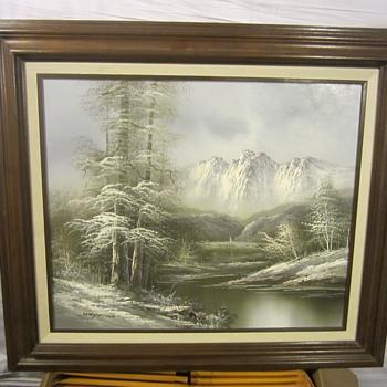 """HAYWOOD"" Snowy Mountain Painting - Visual Art"