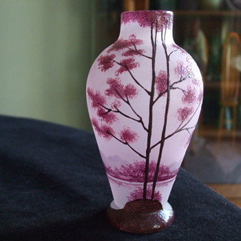 Another Unidentified Enameled Pink Satin VASE-FRENCH?? - Art Glass