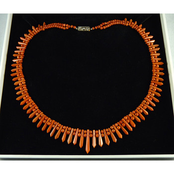 Art Deco Coral Necklace with 18k Diamond Clasp - Art Deco