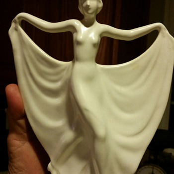 Art Deco Dancing Woman Pottery Planter / Vase