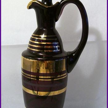 Vintage PURPLE Czech Decanter - Art Glass