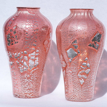 Loetz Rosa Argentan Pair - The pictures say it all! - Art Glass