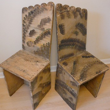 Folk Art Chairs Handmade and Painted Michigan circa 1920 Collection Jim Linderman - Folk Art