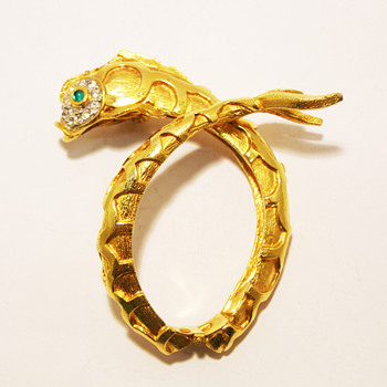 Vintage Kenneth Jay Lane Gold Koi Fish Bypass Bangle - Costume Jewelry