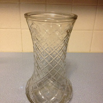 4082 Hoosier Glass Vase 3 with diamond cut design - Art Glass