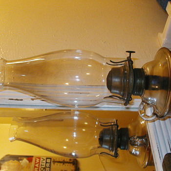 Two Oil Lamps and One Rail Road Lantern - Lamps