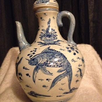 Unusual Asian Ewer / Pitcher with lid. - Asian