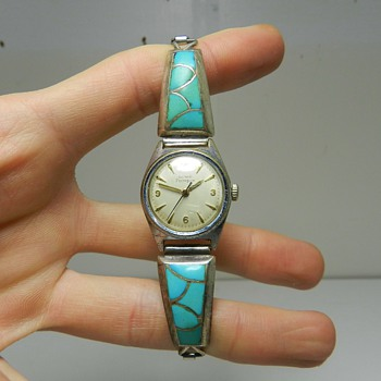 Vintage Girard Perregaux Watch w/ Zuni Sterling/Turquoise Band - Wristwatches