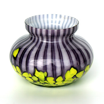 Purple WELZ Stripes and Spots squat vase