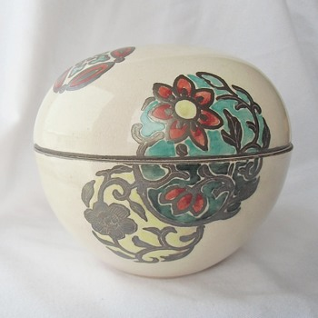 Fine Old Japanese Ceramic Egg Box & Silvered Medallion Floral Designs - Asian
