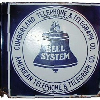 Cumberland Telephone & Telegraph Co. Porcelain Flange Sign - Signs