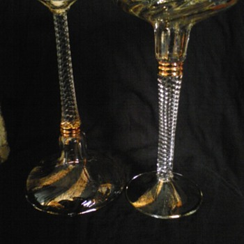gold flecks twisted stem single light candlesticks italian - Art Glass