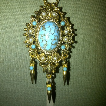 Vintage gold tone turquoise and faux pearl pendant/brooch on chain. - Costume Jewelry