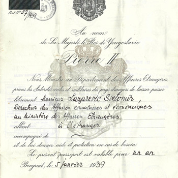 1939 & 1942 Yugoslavian Diplomatic passports