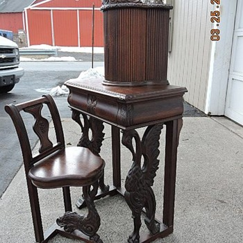 Antique Walnut Telephone Table with chair