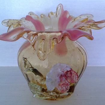 Victorian Bohemian glass vase with applied flower