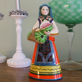 LENCI? Pottery PEASANT GIRL with WATERMELONS-OLD?