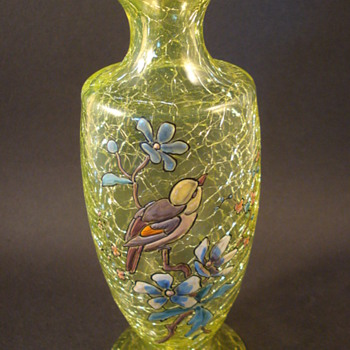 Victorian Enamelled Uranium Crackle Vase - Art Glass