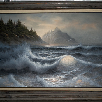 Beautiful large ocean oil painting, cant make out signature
