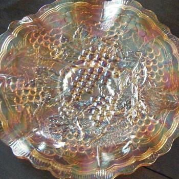 Glass Grape Ruffled Bowl Dish Gold Iridescent - Glassware