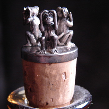 Three Wise Monkeys Silver Hallmarked Cork Beautiful Detail