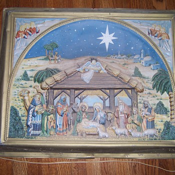 1954 nativity plaque - Christmas