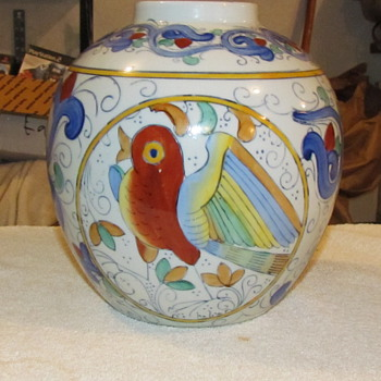Beautiful Hand Painted Porcelain Vase W/ Red Overglaze Maker Mark