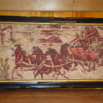 Oil on canvas Western stage coach paintings - Folk Art