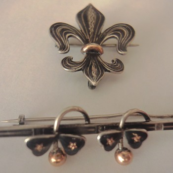 Old Niello Silver / Gold Brooches